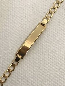 9CT Solid Yellow Gold Baby Personalised CURB Bracelet Free Engaraving BOTH SIDE