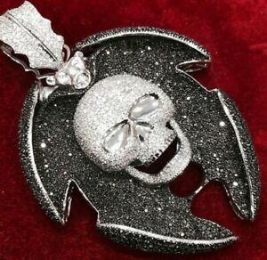 14K White Gold Over 925 Sterling Silver Skull Shield  Diamond Charm Pendent