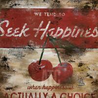"36W""x36H"" SEEK HAPPINESS by RODNEY WHITE - RED CHERRY CHERRIES GRAFFITI CANVAS"
