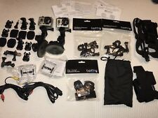2 GoPro Hero Cameras With Accessories Seat Post Suction Cup Mounts Chest Mounts