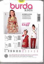 Burda Pattern 9449  Child's Crossover Dress, Top or Pants   US Size 2 3 4 5 6