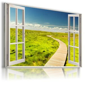 GREEN FIELD ROAD TO HEAVEN 3D Window View Canvas Wall Art Picture  W246 MATAGA