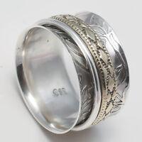 Solid 925 Sterling Silver Meditation ring statement ring Spinner Ring Size sr.50