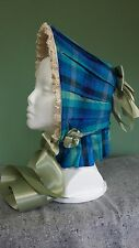 Civil War Reenactment Dress Blue and Green Raw Silk Bonnet with Satin Ribbons