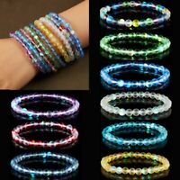 Women Moonstone Quartz Healing Beaded Frosted Stone Bracelet Bangle Stretchy Hot