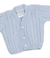 BabyPrem Baby Clothes Premature Early Tiny Boys Knitted Blue Cardigan Cardi