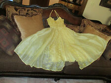 50's Formal~Prom~Evening Gown Dress~Sunny Yellow~Gorgeous Detail~XS
