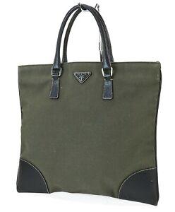 Auth PRADA Kahki Canvas and Black Leather Tote Hand Bag Purse #39911