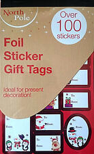 Over 100 Foil Sticker Gift Tags, in Red & Silver. Easy Stick. Free p+p