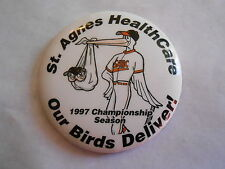 Cool Vintage 1997 St Agnes Health Care Our Birds Deliver Storck & Babies Pinback