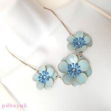 """Dorothy Perkins Ladies Blue Flower Bead Necklace & Earrings NWT 46cm 18"""" ~2729"""