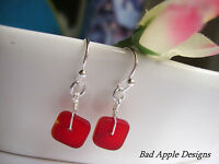 Square Red Frosted Sea Glass Silver Dangle Earrings USA HANDMADE