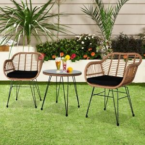 3Pcs Rattan Outdoor Garden Patio Furniture Set Two Chairs & Tempered Glass Table