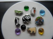WILDLIFE ANIMALS Panda Owl Floating Charms fits living memory owl lockets 11 pcs