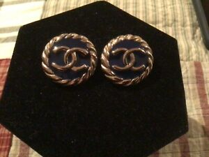 Authentic? CHANEL LOGO Vtg.Clip-on Earrings made in france