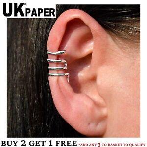 UK NEW SILVER SNAKE CARTILAGE UPPER HELIX EAR CUFF CLIP ON WRAP EMO PUNK EARRING