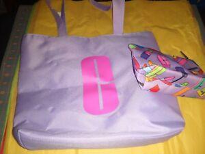 New CLINIQUE Purple Shoulder Travel Tote Bag & 1 Zipper Pouch Lipstick logo