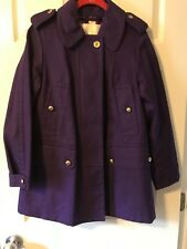 Coach Military Style Button Down Long Sleeve Waist Trench Coat Purple Sz Ex S