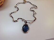 """NWT Uno de 50 Leather/Silvertone Necklace w/ Blue Resin Pendant 17""""+2"""" """"Made me"""