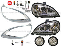 Freightliner Columbia Headlight with LED and Fog Lamp and Bezel Chrome LH & RH