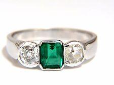 1.65ct Natural Emerald Cut Brilliant Emerald diamond ring 18kt Mod Deco+