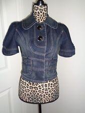 XOXO Short Sleeves Collared Cropped Denim Jacket Junior (?) Size M