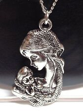 "MOTHER & CHILD_Pendant on 18"" Chain Necklace_Mom Baby Birth Mum Charm Silver"