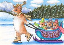 ACEO art print Dog 58 Corgi winter sleigh from original painting L.Dumas