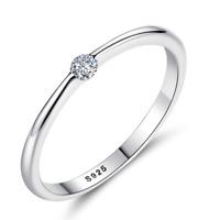Silberring Schlicht Glatt Mit stein Schmal Glänzend Zirkonia Ring Silber 925