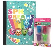 Shopkins Composition Notebook Stamp & 4 Pack Self Ink Stampers Girls School Gift