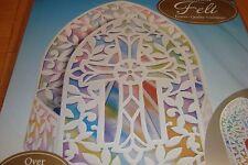White Felt Multi-Color Christian CROSS design Deluxe Premium Table Centerpiece