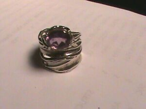 Israel Sterling Silver 925 Amethyst  Large Layered Ring Size 7