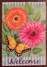 Welcome Butterfly Daisy Flower Spring Summer Mini Window Garden Yard Flag New