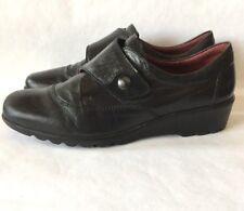 Joseph Seibel Black Slip On Cap Toe Shoes Loafers Size 41 Euro Comfort Casual