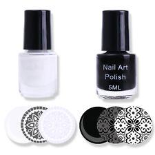 2x 3ml Weiß & Schwarz Stempellack Nagellack Nail Art Stamping Polish