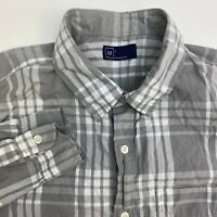 Gap Button Up Shirt Mens Large  Gray White Plaid Long Sleeve Casual