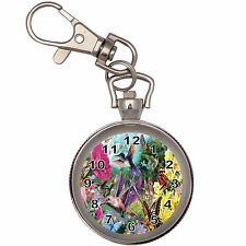 Hummingbird Garden Silver Key Ring Chain Pocket Watch