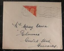 1940 Guernsey Channel Islands England Rare Cover Bi Sect Stamp