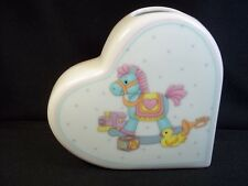 "Child's china heart shaped vase Napco Japan Rocking Horse & toys 4"" tall"