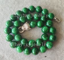 noblest 12mm deep green jade necklace 16-25 inch Leopard head clasp