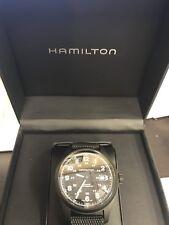 Hamilton Khaki Field Titanium Auto H70575733 Black Dial Coated Canvas Band Watch