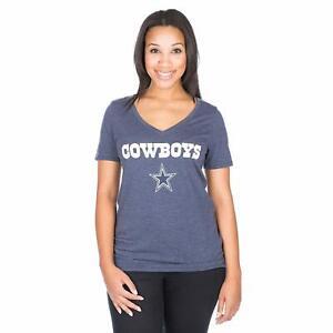 Dallas Cowboys Women's Plus Size Wordmark V-Neck T-Shirt - Heathered Navy