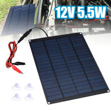 US 12V 5.5W Home Car Camping Boat Battery Charger Solar Panel w*Battery Clip Kit