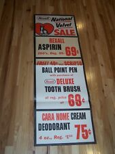 "Vintage Rexall Drug Store Paper Banner Sign National Velvet About 20""x60"" Lot C"