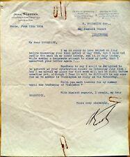 Jean Borotra 1924 Wimbledon Champion vintage signé Tennis Lettre datée du 1934