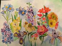 Original watercolor painting 18x24 inches Flowers