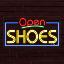 """Brand New """"Open Shoes"""" w/Border 37x20X1 Inch Led Flex Indoor Sign 35567"""
