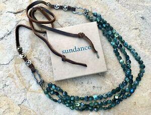 "NEW $388 Sundance Catalog 42"" Adj. Labradorite Leather Bronze Bead Necklace NWT"