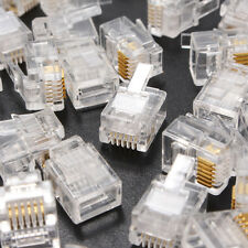 NEW 50pcs RJ12 Tel ADSL Modular Plug 6P6C Solid Connector Gold Plated Cable Head