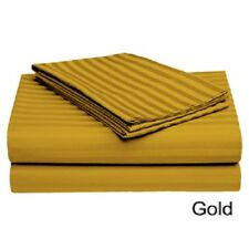 4 PIECES QUEEN SIZE GOLD STRIPED SHEET SET 800 TC 100 PERCENT EGYPTIAN COTTON